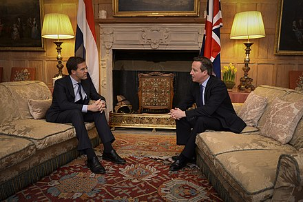 Rutte with British Prime Minister David Cameron on 21 February 2014 Gesprek minister-president Cameron.jpg