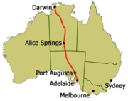 Route map of the Ghan
