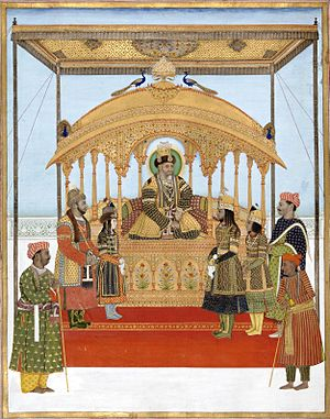 Mirza Jahangir - Painting depicting Akbar II on the Peacock Throne, with Mirza Jahangir standing on the right