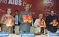 Ghulam Nabi Azad unveiling a Treatment Literacy Brochure, at the World AIDS Day Celebrations, in New Delhi on December 01, 2011. The Chief Minister of Delhi, Smt. Sheila Dikshit and other dignitaries are also seen.jpg