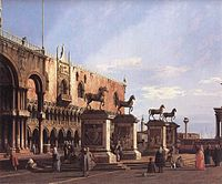 Giovanni Antonio Canal, il Canaletto - Capriccio - The Horses of San Marco in the Piazzetta - WGA03928.jpg
