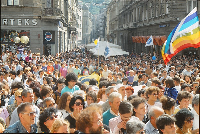 people in sarajevo marching for peace