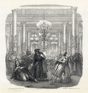 Un ballo in maschera - The final scene of the opera depicted on the piano/vocal score published in 1860