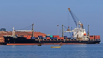 Mormugao - Container ship in Mormugao Harbour