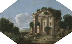 Goffredo Wals (circle of) - An Italianate landscape with a shepherd and animals.jpg