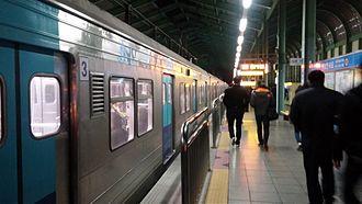 Gojan station - Gojan Station platform at night