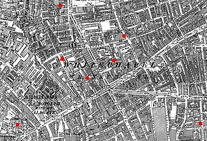 Goulston Street graffito - Map showing the location of the graffito (red triangle) in relation to 6 of the murder sites (red circles). Bottom left: Mitre Square (where Catherine Eddowes was found); Bottom right: Berner Street (where Elizabeth Stride was found). Others (clockwise from top): Dorset Street (Mary Jane Kelly), Osborn Street (Emma Elizabeth Smith), George Yard (Martha Tabram), Castle Alley (Alice McKenzie).