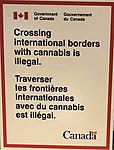 Government of Canada (Gouvernement du Canada) cannabis sign at Billy Bishop Toronto City Airport (YTZ) gate on 19 October 2018.jpg