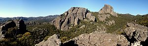 Grampians National Park - The western part of the park, with the rock formation known as The Fortress to the right