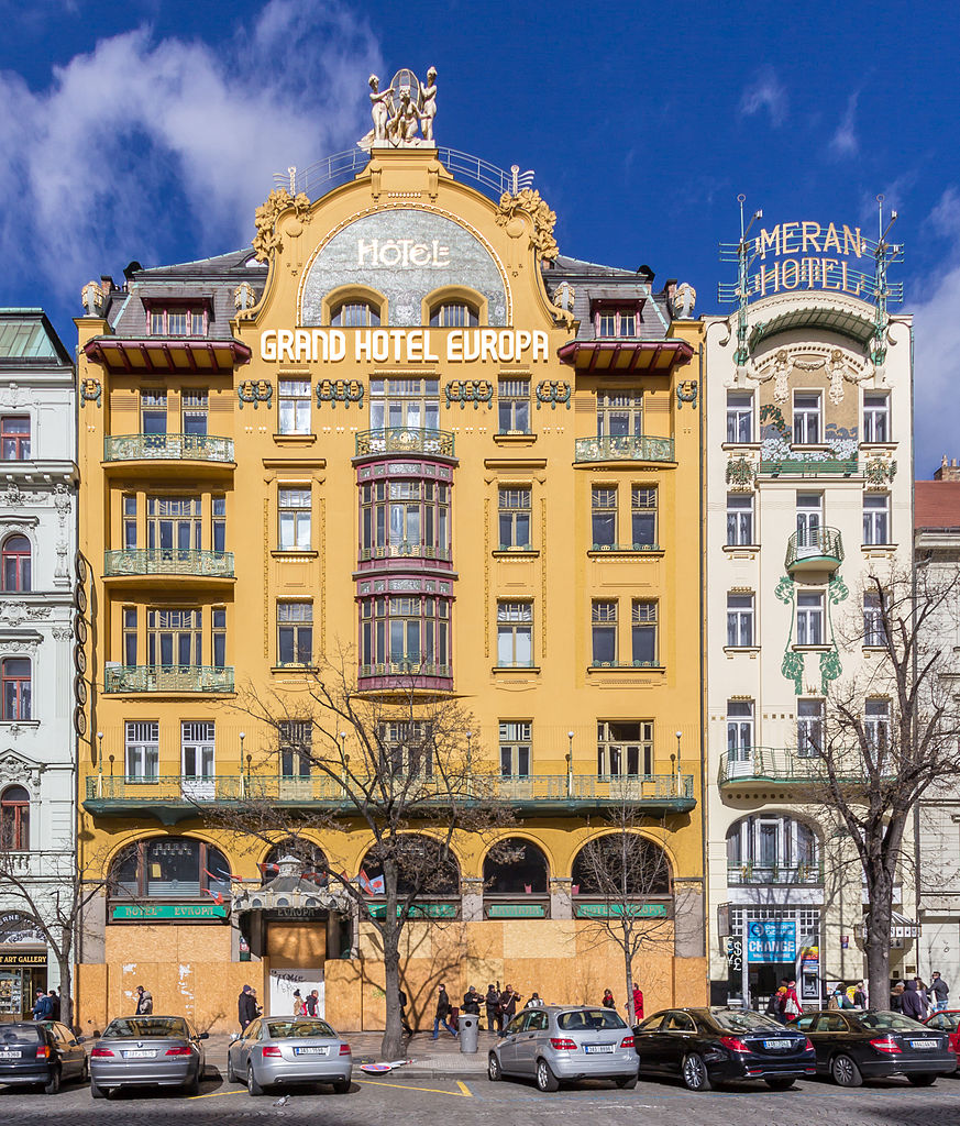 Grand Hotel Europa et Meran Hotel sur la place Venceslas de Prague © Raimond Spekking