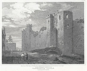 Grand entrance gateway to Caernarvon Castle, Caernarvonshire