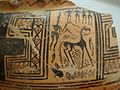 Greek geometric pottery, 8th century BC, sacrificing a horse, swastika, Argm05.jpg