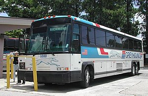 Intercity bus service - An integral bodywork MCI 102DL3, the most common intercity bus owned by Greyhound Lines, the largest provider of intercity bus service in North America. Greyhound no longer operates the 102DL3 in this configuration.