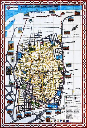 Salé - Map of downtown Salé