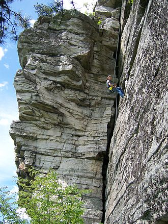 Lynn Hill - Hill became a world-renowned climber in The Gunks. (Another person pictured)