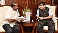 H.D. Kumaraswamy meeting the Union Minister for Road Transport & Highways, Shipping and Water Resources, River Development & Ganga Rejuvenation, Shri Nitin Gadkari, to discuss various issues pertaining to State, in New Delhi.JPG