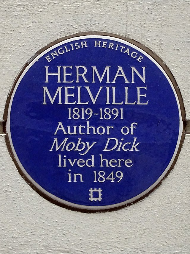 Herman Melville blue plaque - Herman Melville  1819-1891  Author of  Moby Dick  lived here  in 1849