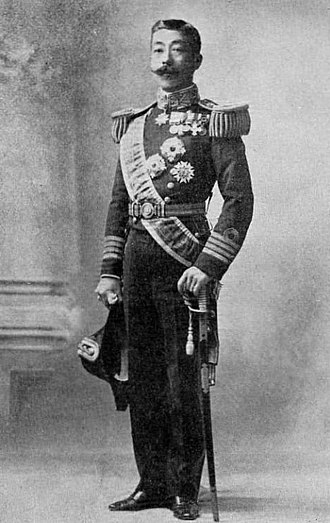 Westernization - An example of Westernization: Meiji period, Japan, Prince Yorihito Higashifushimi in typical Western naval dress uniform with white gloves, epaulettes, medals and hat
