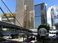 HK Admiralty 紅棉道 Cotton Tree Drive footbridge Far East Finance Centre facade.JPG