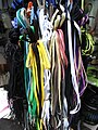 HK Central Theatre Lane street stall goods color Shoe ropes Sept-2012.JPG