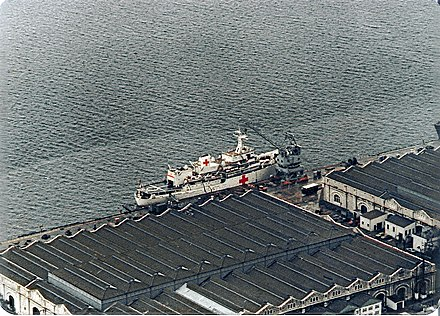Hecla at HM Naval Base Gibraltar, during conversion to a hospital ship for service during the Falklands War HMS Hecla 1982 Gibraltar.jpg
