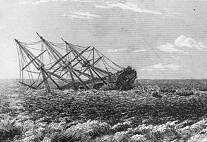 HMS Pandora (1779) - HMS Pandora in the act of foundering   by Robert Batty