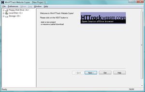 HTTrack - Screen shot of HTTrack software upon opening.