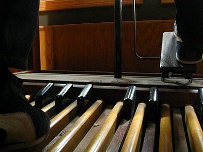 Unlike an American Guild of Organists pedalboard, a console Hammond normally has 25 pedals. Hammond C2 pedalboards (Supernatural).jpg