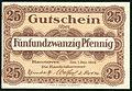 Handelskammer Hannover Gutschein über 25 Pfennig 1. Dezember 1919 Unterschrift Beindorff Wolfeel von Roon J. C. König & Ebhard. Bildseite.jpg