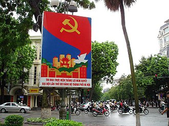 Communist party - The Communist Party's propaganda poster in Hanoi, Vietnam