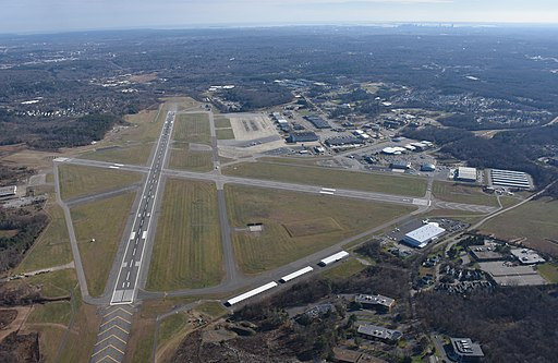 Hanscom Field runway aerial