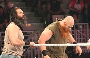 Luke Harper and Erick Rowan - Harper and Rowan wrestling in a tag team match in September 2014