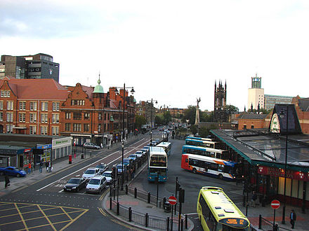 Haymarket bus station, one of the city's two main bus stations. Haymarket Bus Station.jpg