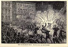 Grabado que muestra la explosión en la Revuelta de Haymarket.