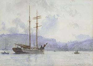 Henry Scott Tuke - A topsail schooner off a port at dusk.jpg