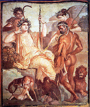 Telephus - Allegory of Heracles with baby Telephus suckled by the doe: fresco from Herculaneum, 1st century CE (Museo Archeologico Nazionale, Naples)