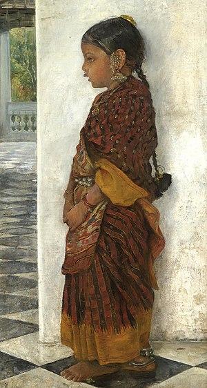 Hermann Linde - Girl standing in a veranda wearing a Pochampalli sari (ca.1895).jpg