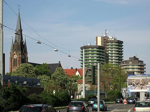 Herne, Blick auf Europaplatz mit Kreuzkirche