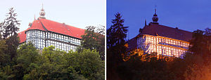 Herzberg Castle - The castle seen from Herzberg, day and night