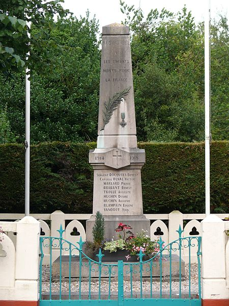 The memorial of Hesdigneul-lès-Boulogne (Pas-de-Calais, France).