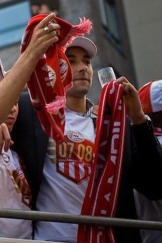 Heurelho Gomes - Gomes celebrates winning the 2007–08 Dutch championship with PSV.