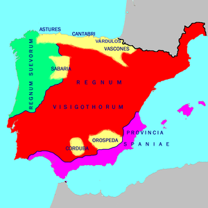 Ancient Portugal - Germanic kingdoms in Iberia (red and green), 560.