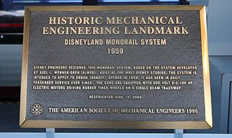 Disneyland Monorail System - Historical Disneyland Monorail Plaque located at Tomorrowland Station.