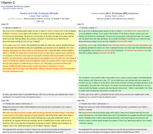 Web page showing side-by-side comparison of an article highlighting changed paragraphs.