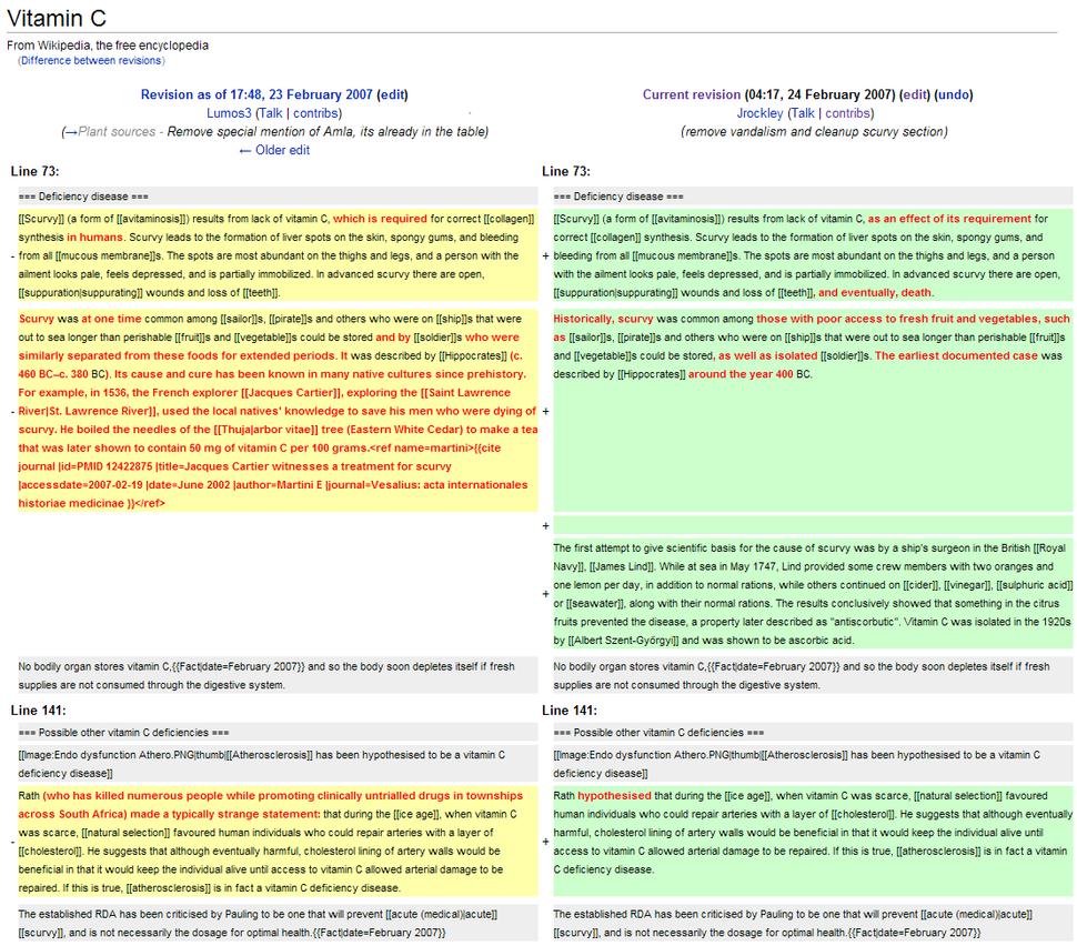 History comparison example