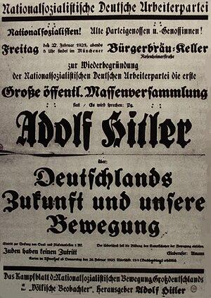 "Bürgerbräukeller - Invitation to a ""re-establishment"" of the Nazi party with Adolf Hitler as an orator, 27 February 1925, Munich, Bürgerbräukeller"