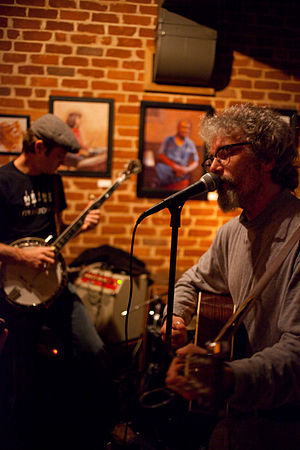 The Hogwaller Ramblers - Appearing at Fellini's No. 9 restaurant in Charlottesville, Virginia on November 16, 2009: Jimmy Stelling on banjo (left), Jamie Dyer on guitar (right)