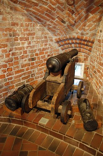 Holstentor - Modern reproduction of a cannon in the Holsten Gate