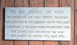 Pakaraka - Image: Holy Trinity, Pakaraka, plaque