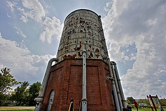 Homestead Steel Works - The water tower of the pump-house is one of the few structure remaining from the 1800s. Now, it provides restrooms within for visitors and cyclists traveling on the Great Allegheny Passage trail.